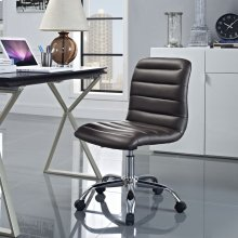 Ripple Armless Mid Back Vinyl Office Chair in Brown