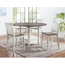 5 PIECE SET (ROUND PUB TABLE WITH 5 BARSTOOLS)