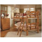 Heartland Bookcase Scalloped Bunk Bed with options: Honey Pine, Twin over Twin Product Image