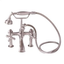 Tub Rim-Mounted Filler with Hand-Held Shower - Cross Handles / Brushed Nickel