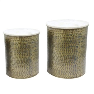Kent Marble Side Table Set of 2, Antique Brass