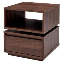 Mischa Swivel End Table w/ Storage, Walnut