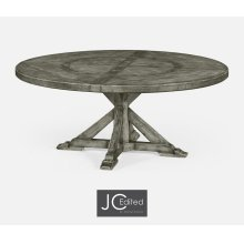 "72"" Antique Dark Grey Circular Dining Table with Inbuilt Lazy Susan"