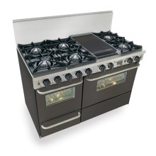 "48"" Dual Fuel, Convect, Self Clean, Open Burners, Black"