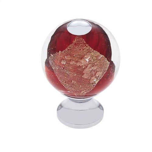 Polished Chrome 30 mm Red Knob