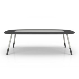 102'' table with lacquered glass
