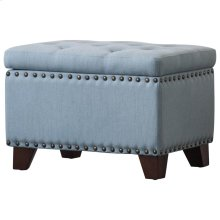 Jonas Fabric Rectangular Nailhead Tufted Storage Ottoman, Ocean