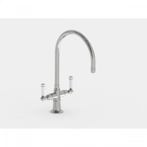 """Brushed Stainless - Single Hole 10"""" Swivel Spout with White Ceramic Lever Product Image"""