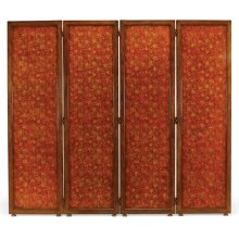 Red Chinoiserie Four Panel Screen