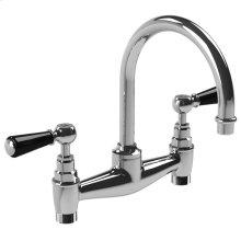 """Black lever basin bridge mixer with 6 1/2"""" spout"""