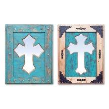 Turquoise Cross Mirror