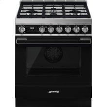 "Portofino Pro-Style All-Gas Range, Black, 30"" X 25"""