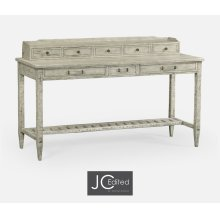 Rustic Grey Plank Buffet with Strap Handles