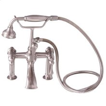 Tub Rim-Mounted Filler with Hand-Held Shower - Lever Handles with Finials / Brushed Nickel