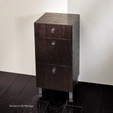 "Free-standing cabinet with three drawers, polished chrome pulls and polished stainless steel legs included, 13 3/8""W, 13 3/8""D, 27 1/2""H."