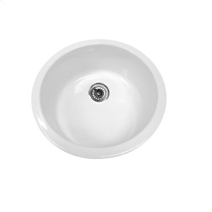 "Farmhaus Fireclay Elementhaus circular single bowl fireclay sink that can be installed as a drop-in or undermount sink with a 3 1/2"" rear center drain. Product Image"