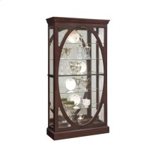 Oval-Framed Sliding 5 Shelf Curio Cabinet in Sable Brown