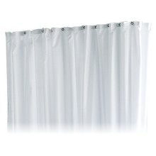 Shower curtain PLAN stripes - truffle/white/8 eyelets