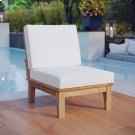 Marina Armless Outdoor Patio Teak Sofa in Natural White Product Image