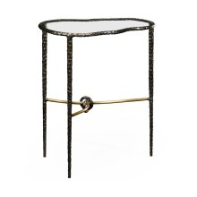 Hammered Antique Black Brass Freeform Lamp Table