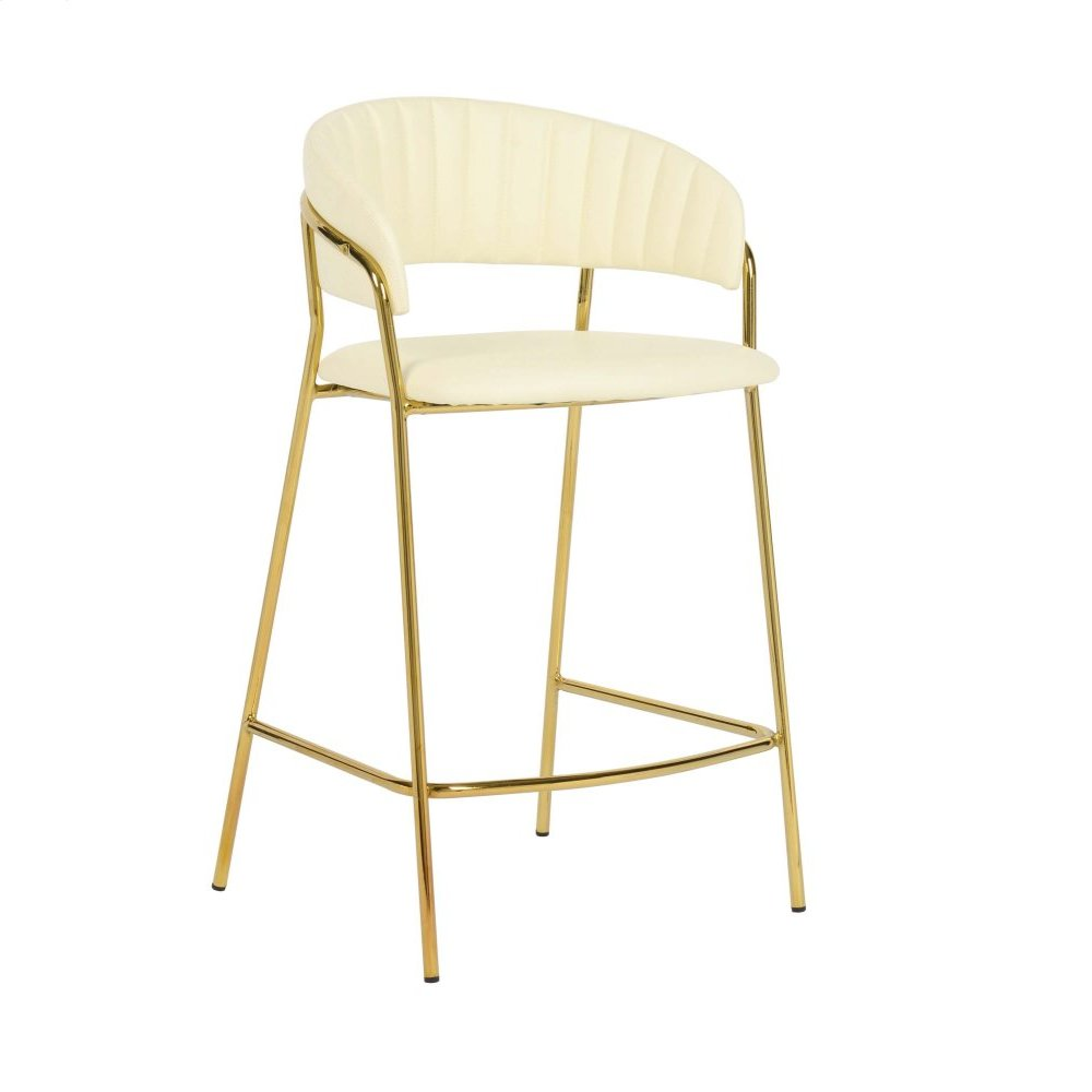 Padma Cream Vegan Leather Counter Stool (Set of 2)