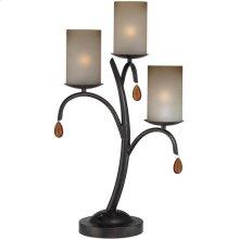 3 Lites Table Lamp - Dark Bronze/glass Shade, E12 B 40wx3