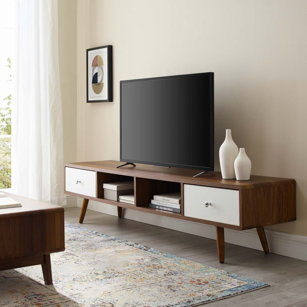 """Transmit 70"""" Media Console Wood TV Stand in Walnut White"""