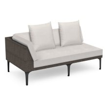 "67"" Outdoor Dark Grey Rattan 2 Seat L-Shaped Right Sofa Sectional, Upholstered in COM"