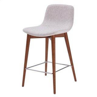 Perry KD Fabric Counter Stool Walnut Legs, Raindrop Beige/Velvet Beige