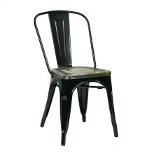 Bristow Metal Chair With Vintage Wood Seat, Black Finish Frame & Ash Cameron Finish Seat, 2 Pack