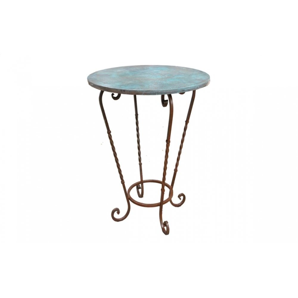 "Factory 4 36"" Turquoise Patina Copper Bistro Top & Wrought Iron Base"