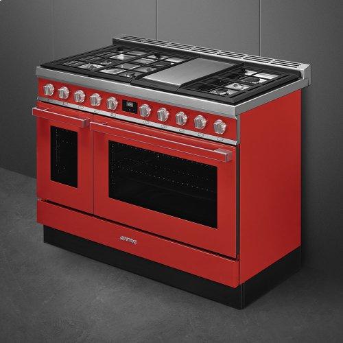 "Portofino Pro-Style Dual Fuel Range, Red, 48"" x 25"""