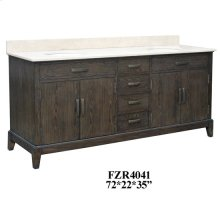 "Kensington 4 Louvered Doors 4 Drawer 72"" Double Vanity Sink"