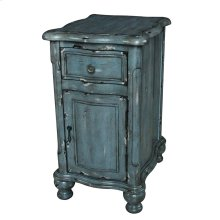 Harrison Distressed Grey 1 Drawer / 1 Door Shaped Chairside