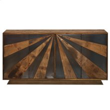 KERU SIDEBOARD  Walnut Finish on Mango Wood with Iron Detail  4 Door