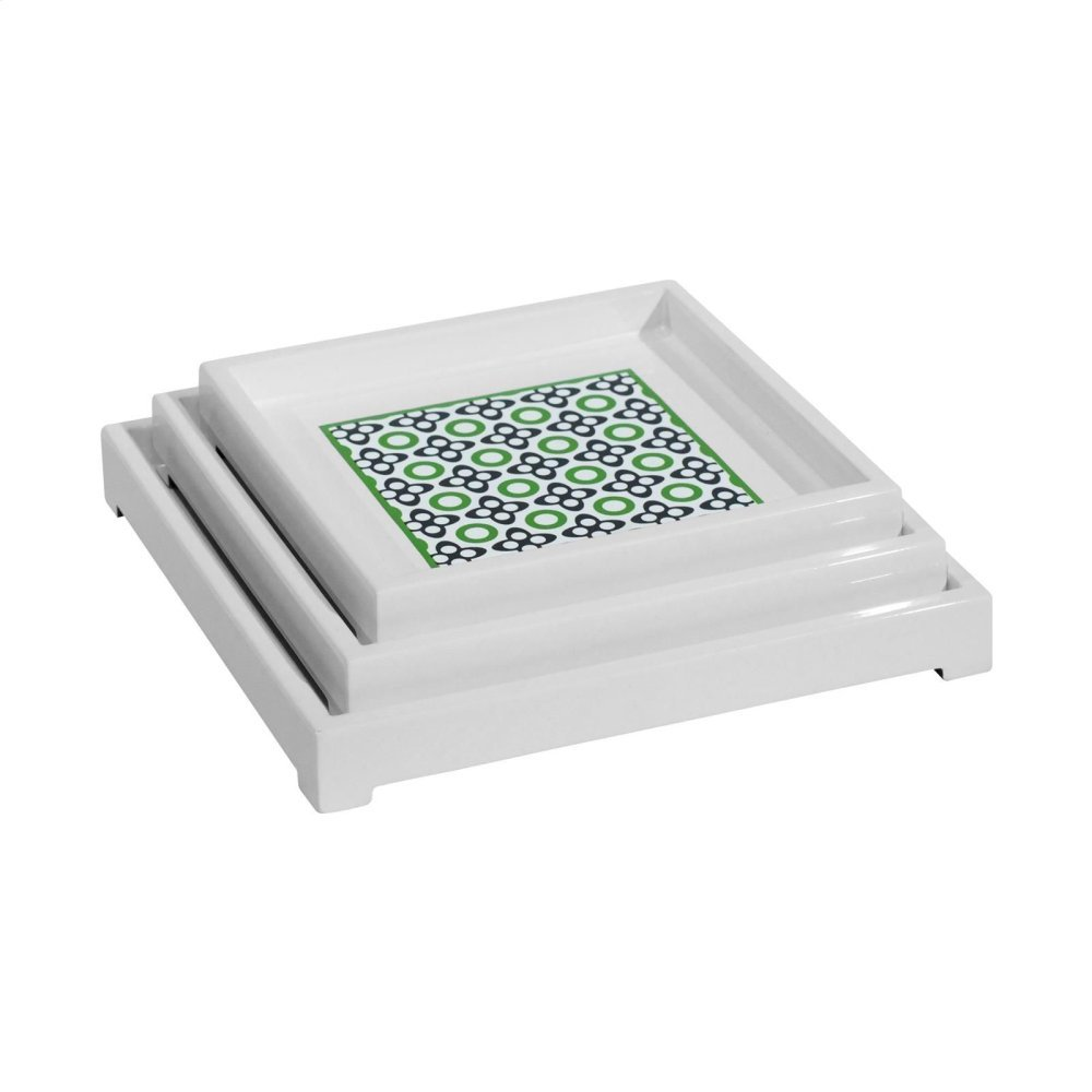 Ashley Square Nesting Trays, Green-Gray-White