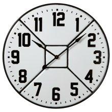 Black & White Enamel Divided Wall Clock