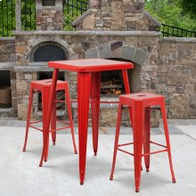 23.75'' Square Red Metal Indoor-Outdoor Bar Table Set with 2 Square Seat Backless Stools