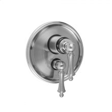 """Antique Brass - Round Step Plate with Ball Lever Thermostatic Valve and Ball Lever Volume Control Trim for 1/2"""" Thermostatic Valve with Integral Volume Control (J-THVC12)"""