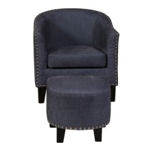 Accent Chair & Ottoman in Vintage Denim Blue