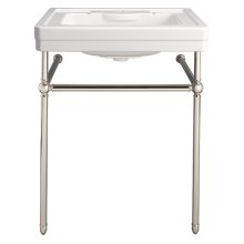 Fitzgerald Console Sink- Single Faucet Hole - Canvas White / Polished Nickel