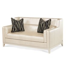 Group 1 Opt 2 Leather Loveseat Pearl/Blk