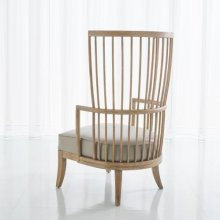 Spindle Wing Chair-Grey Leather