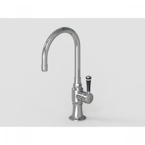 """Brushed Stainless - 7"""" Swivel Deck Mount Single Hole Bar Faucet Spout with Right Black Ceramic Contemporary Lever Product Image"""
