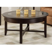 Demilune Round Coffee Table w/Glass Top