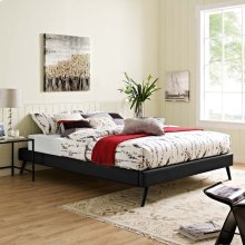Loryn King Vinyl Bed Frame with Round Splayed Legs in Black