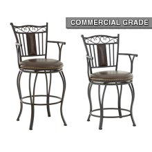 """Barbara Jumbo Swivel Bar Chair with Armrest, 24""""x24""""x48"""""""