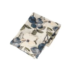 Magnolia Print Velvet Throw
