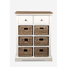 Simone White Cabinet (2 Drawers+6 Baskets) (25.5X15X33.5)