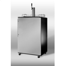 Freestanding commercial beer dispenser with black cabinet, stainless steel door, thin handle, and complete tap system